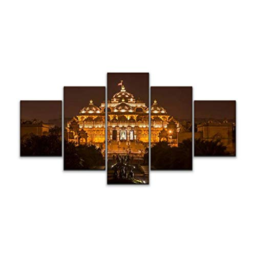 Night in U.S Canvas Art Wall akshardham Temple at New Delhi India cngltrv1109 Mystical Temples Paintings Vintage Prints Home Decor Artworks Gift Ready to Hang for Living Room 5 Panels Large Size