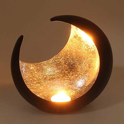 Casa Moro Orientalisches Windlicht Ravi Silber Ø 19cm Halbmond Kerzenhalter aus Metall innen Silber außen schwarz | marokkanischer Teelichthalter Hilal aus 1001 Nacht | WLM2624