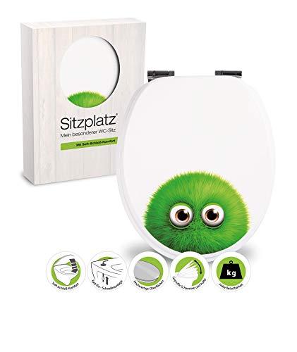 SITZPLATZ® WC-Sitz mit Absenkautomatik, lustiges Dekor Monster Bobby, Toilettensitz mit Holzkern, FastFix Schnellbefestigung, universale O Form, mit Metallscharnieren, Toilettendeckel witzig, 40275 0