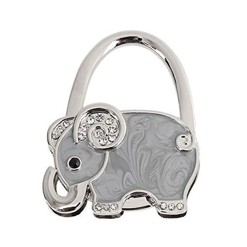 Appendi Borsa da Tavolo Pieghevole Portatile in Metallo a Forma di Elefante Strass Gancio Porta Borsa da Tavolo Regalo per Donna Ragazza (Grigio)