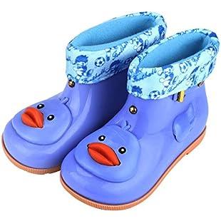 uBabamama Cute Cartoon Duck Rubber Waterproof Warm Boots Removeble Lined Insole Rain Shoes for InfantKids Children Baby (9.5 UK, Blue):Animewalk
