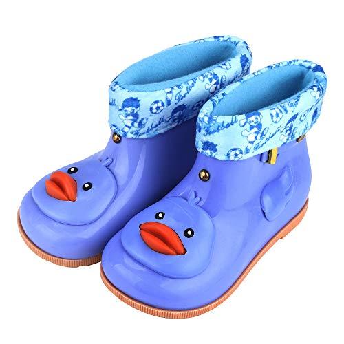 Anti-Slip Buckle Infant Kids Children Baby Cartoon Duck Rubber Waterproof Warm Boots Rain Shoes, 1-7T Children Boys And Girls Ducklings Plus Velvet Rain Boots Rain Boots Non-Slip Shoes (Blue, 24)