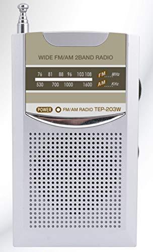 ワイドFM/AM ポケットラジオ TEP-203W ワイドFM対応 専用両耳イヤホン&クリップ付き 名刺サイズ スピーカー内蔵 ダイヤル選局 防災グッズ 携帯ラジオ シルバー 2バンド対応
