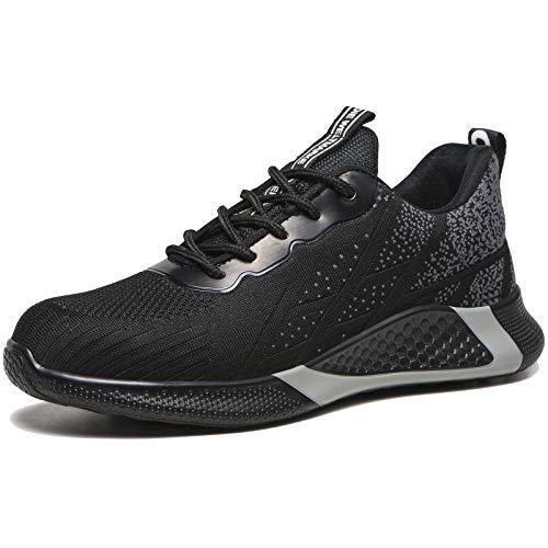 Chaussure de Sécurité Homme Femme Légères Chaussures de Travail Embout Acier Noir 41