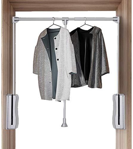 Kleerhangers in breedte verstelbaar garderobe met een bandenbuffer systeem met zachte achterwand, hoge draagkracht, telescopisch design, aluminiumlegering + kunststof (kleur: zilver maat: 830-1150 mm)