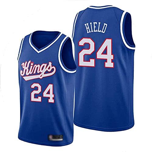 FEZBD Jerseys De Baloncesto para Hombres, Reyes # 24 HIRN HIRN NBA Baloncesto Uniformes Tops Sin Mangas T-Shirts Chalecos Deportivos Ocasionales,Azul,S165~170cm