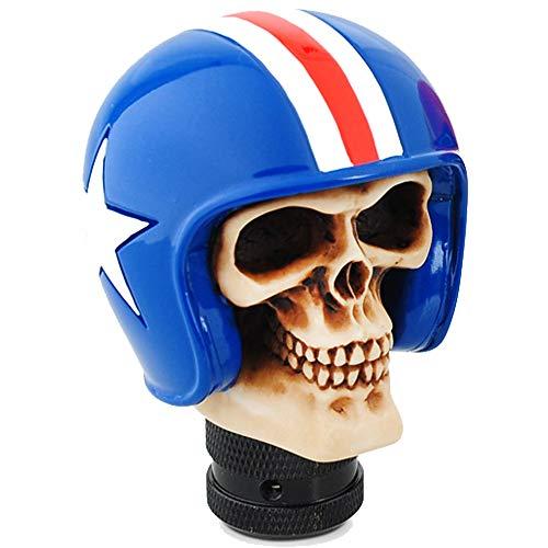 Perilla de cambio de marchas esqueleto cabeza de cráneo universal 5 6 velocidades palanca de cambios adaptador de ajuste interior del coche pieza modificada personalizada accesorio auto azul