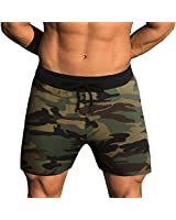 COOFANDY Athletic Men's Cotton Shorts & Jogger Camo Running Shorts with Pockets, Green Camo, XL