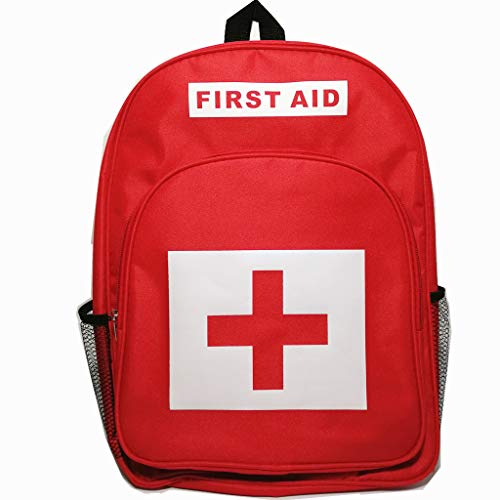 PAXLamb First Aid Bag Empty Red Emergency Medical Backpack Empty First Responder Trauma Bag Multi-Pocket for Traveling Camping Hiking Scout Troop Childcare Field Trips (Red Backpack #1)