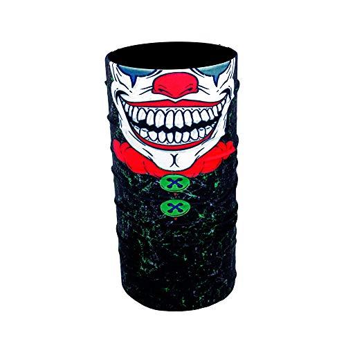ZaPro HD Druck Premium - Multifunktionstuch - Verschiedene Designs Bedrucktes Halstuch Motorrad Sommer Frühling Totenkopf Skull Fastnacht Bunt Maske Joker Buff Tuch Venom (Crazy Clown)