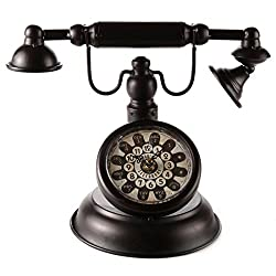 Lily's Home Old Fashioned Rotary Telephone Clock, Makes ann Excellent Accent Piece for Any Room, Black