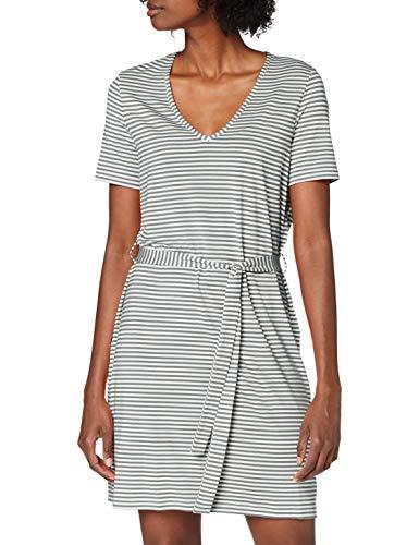VERO MODA Damen VMPOLLY SS Short Dress JRS Kleid, Snow White - Laurel Wreath Stripes, XL