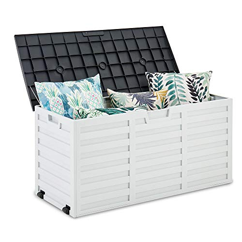 FiNeWaY Portable 260L Outdoor Plastic Garden Storage Box Shed Furniture Utility Gardening Tools BBQ Grill Chair Cushions Toys Bike – With Wheels