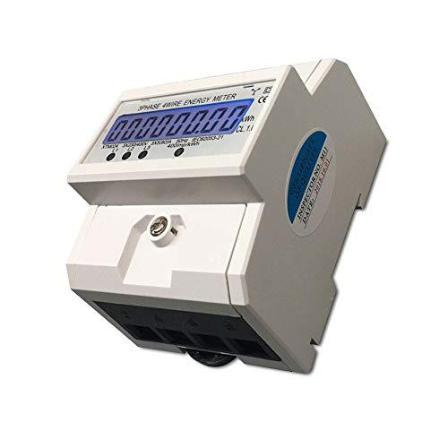 TABODD Digitaler Stromzähler LCD Drehstromzähler 3-Phasen-4-Draht Drehstromzähler für DIN Hutschiene Wechselstromzähler GEEICHT/BEGLAUBIGT 3x230/400V 5(80) A mit CE-Zertifikat