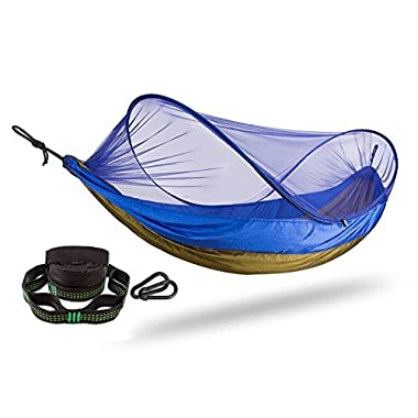 FiveJoy Pop Up Mosquito Net Camping Hammock with Tree Straps and Carabiners - Easy Set Up, Protection from Bugs Insects Ticks - Lightweight, Durable, Portable for Hiking, Beach, Backyard, Outdoors