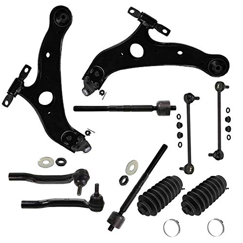 Detroit Axle - 12pc Kit: Both (2) Front Lower Control Arms and (2) Lower Ball Joints and All (4) Inner and Outer Tie Rod Links w/Rack Boots and (2) Sway Bar Links for [2004-2010 Toyota Sienna]