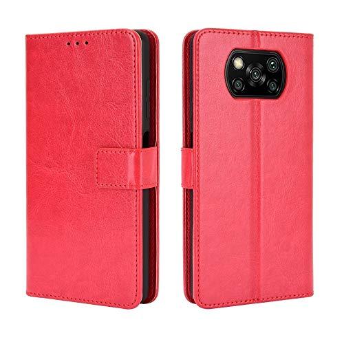 Handy-Ledertaschen for Xiaomi Poco X3 NFC Retro Crazy Horse Texture Horizontal-Schlag-Leder-Kasten mit Halter & Card Slots & Bilderrahmen Taschen Schalen (Farbe : Red)