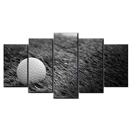 Gbwzz HD gedrukt 5 stuks canvas kunst golfbal in gras zwart, wit, schilderij wandafbeeldingen voor woonkamer 30 x 50 cm x 2 stuks, 30 x 70 cm x 2 stuks, 30 x 80 cm x 1 stuks.