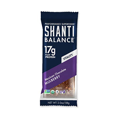SHANTI BALANCE   VITALITY Mexican Chocolate Mulberry   17G Plant Based Protein   Organic Gluten Free Superfood   Immunity Boosting   Performance Nutrition   12 Count, 2 oz Bars