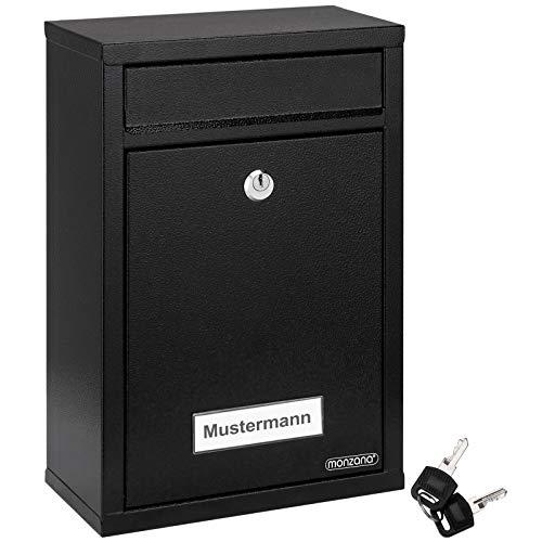 Deuba Buzón para cartas de acero galvanizado Negro 22x32x9cm buzón con cerradura y 2 Juegos de llaves