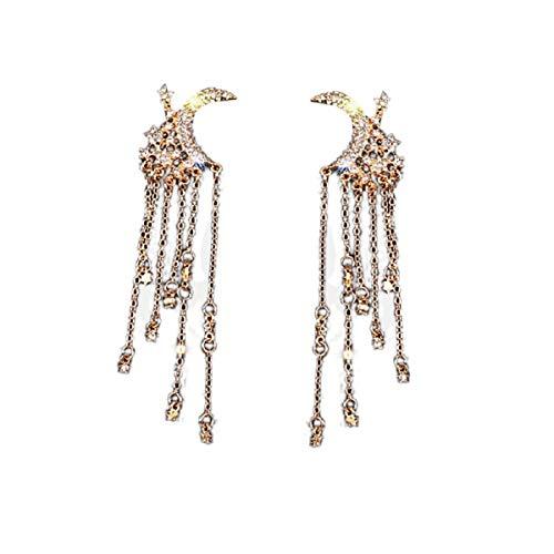 Ohrringe, Barlingrock Trend Moon Quaste Ohrringe für Frauen Strass Ohrringe Lange Quaste Ohrringe Weibliches Juwel Perfekter Muttertagsgeschenk