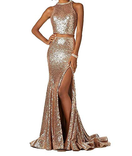 Women's Mermaid Prom Dresses Two Pieces Sequined Evening Formal Gowns with Slit Rose Gold,4