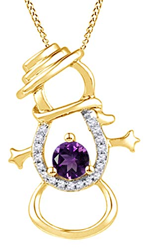 Simulated Amethyst & Natural Diamond Accent Snowman Pendant Necklace in 14K Yellow Gold Over Sterling Silver -  AFFY, MNo-I-CSP19136-YSL-AMT