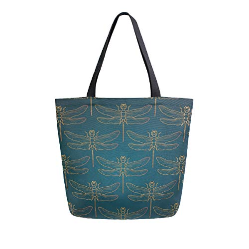 Canvas Tote Bag Libelle Insekten Gold Vintage Romantische Fliese Luxus Tragetasche Casual Schultertasche für Einkaufen Reisetasche Wiederverwendbar Lebensmittelbeutel