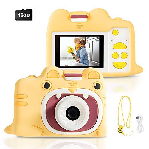 COSTWAY 18MP/720P HD Kinderkamera, 2 Zoll Farbdisplay Kinder Digitalkamera, Videokamera für Kinder von 3-10 Jahren, inkl. Trageband, 16GB-Speicherkarte (Gelb mit Schutzhülle)