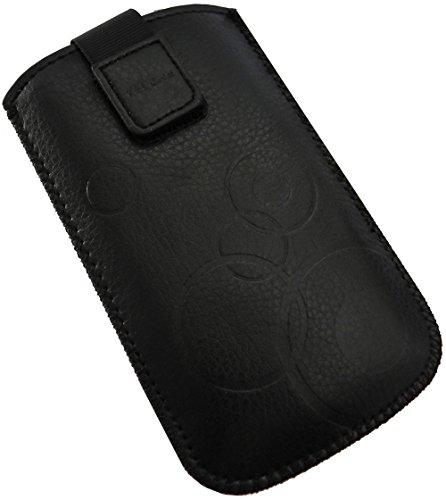 Handyschale24 Slim Hülle für GIgaset GL390 Handytasche Schwarz Schutzhülle Tasche Cover Etui mit Klettverschluss