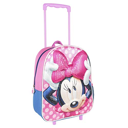 Disney Minnie Mouse Girls Wheeled Trolley Backpack, Children's School Backpack, Kids Travel Carry On Cabin Hand Luggage Girls Suitcase, 3D Sequin Design, Gift for Girls!