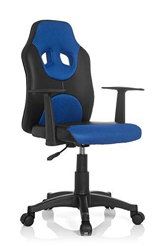 hjh OFFICE 670800 Kinder-Drehstuhl Kid Game AL Kunstleder Schwarz/Blau höhenverstellbarer Kinderschreibtischstuhl mit Armlehnen