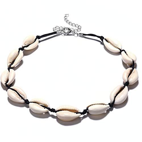 Yissma handgemaakte schelp-halsketting voor dames, met natuurlijk witte shell bohemian choker, strandtouw, halsketting, cadeau, sieraad, 35 + 10 cm