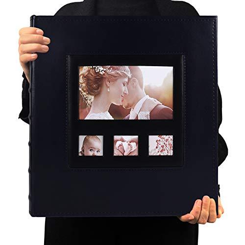 RECUTMS Álbum De Fotos De 10x15 De Gran Capacidad con Capacidad para 600 Fotos Álbum De Fotos De Tapa De Cuero Liso Album De Fotos Familiar Album De Cultivo De Bebés (Azul)