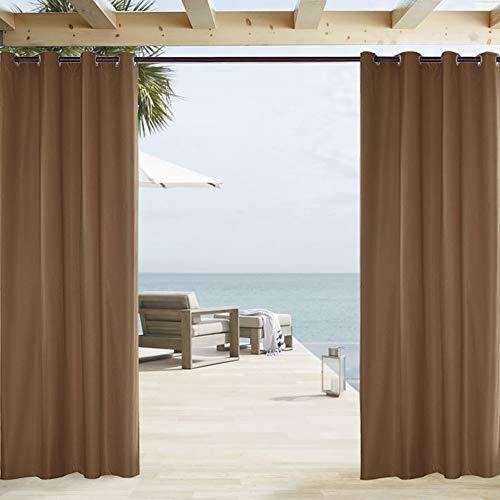 ele ELEOPTION Cortina de Exterior Impermeable, Opaca, Resistente al Viento, Protección UV, para Balcón, Jardín o Patio (137 x 213cm, Café)