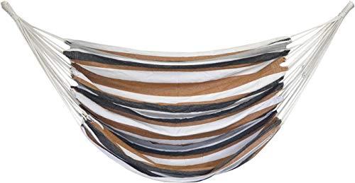 AMANKA Hamaca 110x145cm Silla Colgante de algodón Grande Columpio de Lona Asiento suspendido a Rayas Marrones y Beis