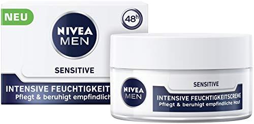 NIVEA MEN Sensitive Intensive Feuchtigkeitscreme (50 ml), langanhaltende Feuchtigkeitspflege für empfindliche Haut, Gesichtscreme für Männer