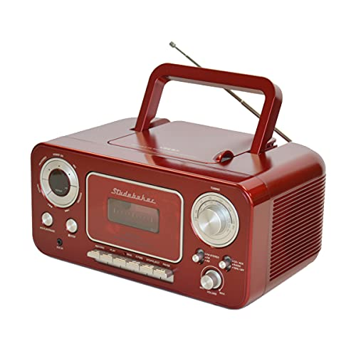 Studebaker SB2135RS Portable Stereo CD Player with AM/FM Radio and Cassette Player/Recorder in Red and Silver