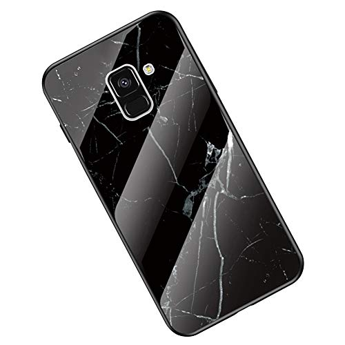 Kompatibel mit Samsung Galaxy A8 2018 Hülle, Galaxy A8 2018 Handyhülle,Ysimee Marmor Schutzhülle Gehärtetes Glas Rückseite und TPU Hülle Ultra Dünn Kratzfeste Handyhülle, Marmor Schwarz