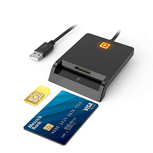Eletrand Smart Card + SIM Card USB 2.0 Lettore di Smart Card Hot-Plug, Design a Doppio Slot per schede, Lettore di schede CAC Militare Portatile, Compatibile con Windows XP, Linux, Mac OS