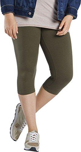 Esmara® Damen Leggings, Capri-Länge (Khaki grün, Gr. XL - 48/50), 95% Baumwolle, 5% Elasthan