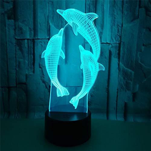Luz nocturna anime boy de 7 colores cambiantes con interruptor de delfín táctil, lámpara de mesa para niños, regalo de Navidad, decoración de cama, 16 colores, mando a distancia