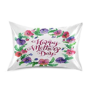Silk Flower Arrangements Blueangle Pansy Flowers Wreath Satin Pillowcase for Hair and Skin Silk Pillowcase, Standard Size(20x26 inches) - Slip Cooling Satin Pillow Covers with Envelope Closure,Mother's Day Decor
