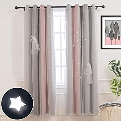 Hughapy Star Curtains Stars Blackout Curtains for Kids Girls Bedroom Living Room Colorful Double Layer Star Cut Out Stripe Window Curtains, 1 Panel -(52W x 95L, Pink/Grey)