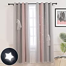 Hughapy Star Curtains Stars Blackout Curtains for Kids Girls Bedroom Living Room Colorful Double Layer Star Cut Out Stripe Window Curtains, 1 Panel -(52W x 63L, Pink/Grey)