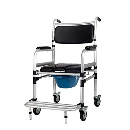 N/Z Daily Equipment Commode Chair Folding Commode Chair with Brake Wheel Mobile Toilet Bath Stool Height Adjustable Waterproof