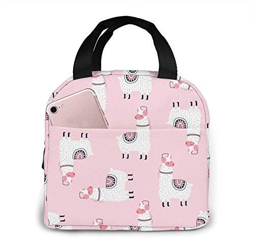 Bolsa de almuerzo aislada reutilizable de llama rosa, caja de asas más fría, preparación de comidas para hombres y mujeres, trabajo, picnic o viajes