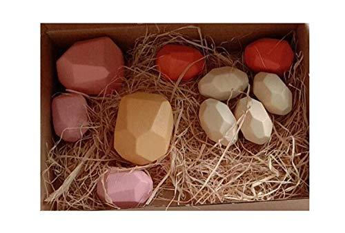 Holzbausteine Set, Handgefertigte Holzstein-Ausgleichsblöcke, Naturholzspielzeug, farbige Holzsteine Stapelspiel Rock Block Spiel Lernspielzeug für Kinder (Bunt, 10pcs)