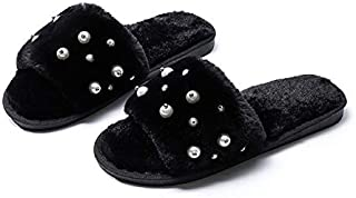 YANGLAN Plush slippers female new winter outer wear open-toed slip flat pearl word plush slippers indoor floor drag Household slippers (Color : D, Size : (40~41))