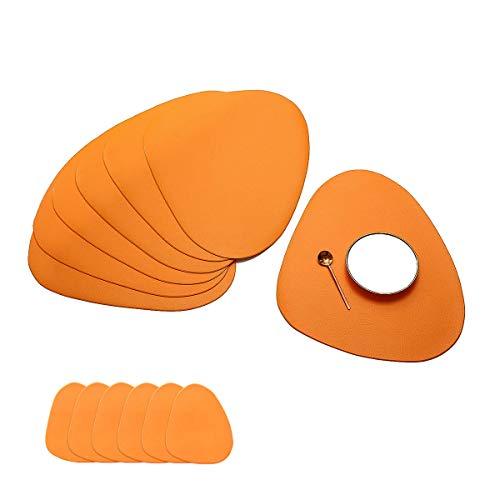Jujin, Set di 6 tovagliette rotonde e sottobicchieri per tavolo da pranzo e cucina, resistenti al calore, antiscivolo e lavabili
